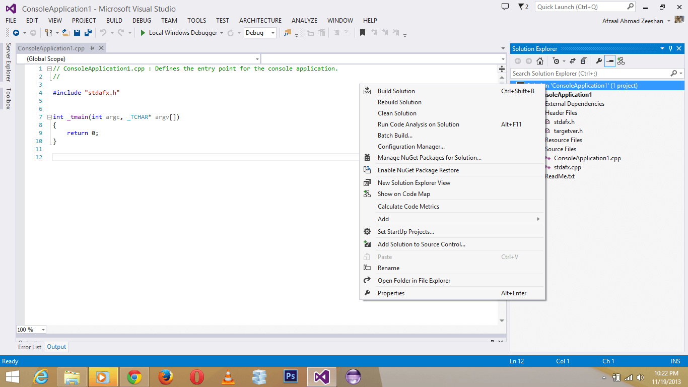 Visual Studio 2017 screenshot